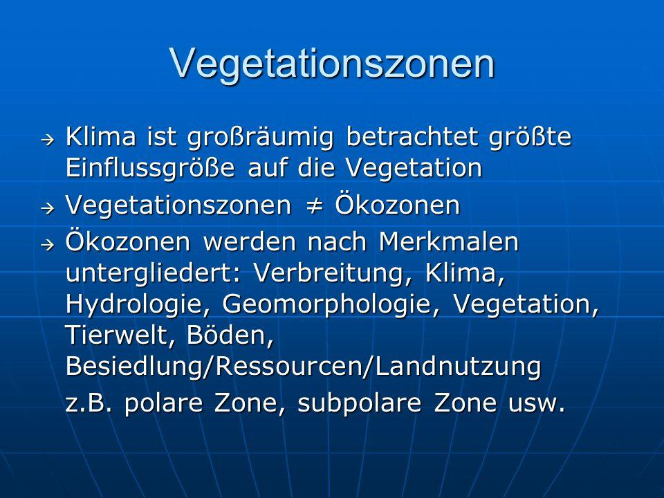 Vegetationszonen Klima ist großräumig betrachtet größte Einflussgröße auf die Vegetation. Vegetationszonen ≠ Ökozonen.