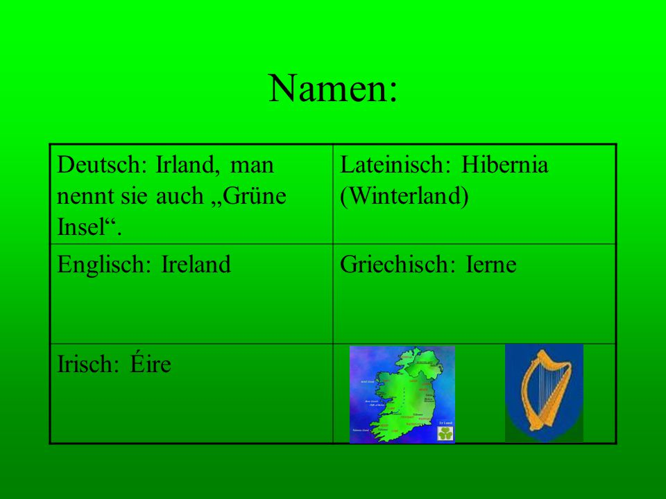 """Namen: Deutsch: Irland, man nennt sie auch """"Grüne Insel ."""