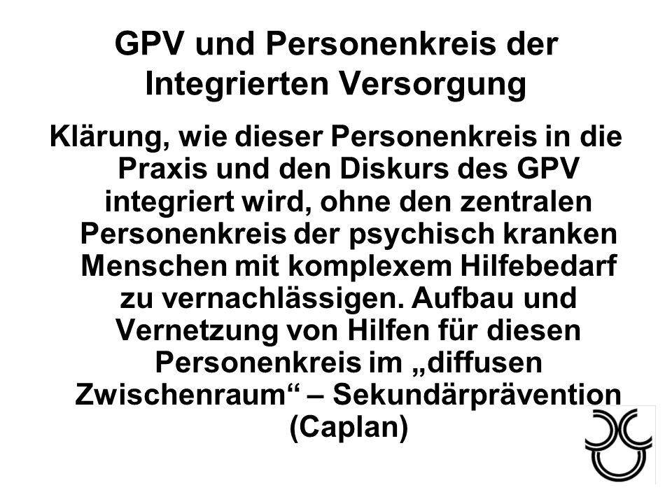 GPV und Personenkreis der Integrierten Versorgung