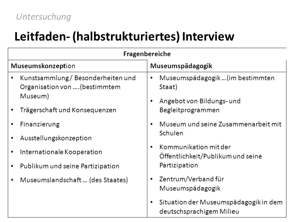 Leitfaden- (halbstrukturiertes) Interview