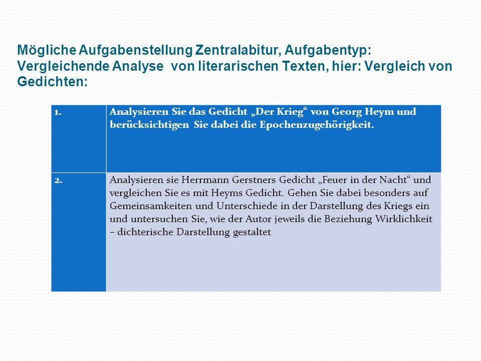 Mögliche Aufgabenstellung Zentralabitur, Aufgabentyp: Vergleichende Analyse von literarischen Texten, hier: Vergleich von Gedichten: