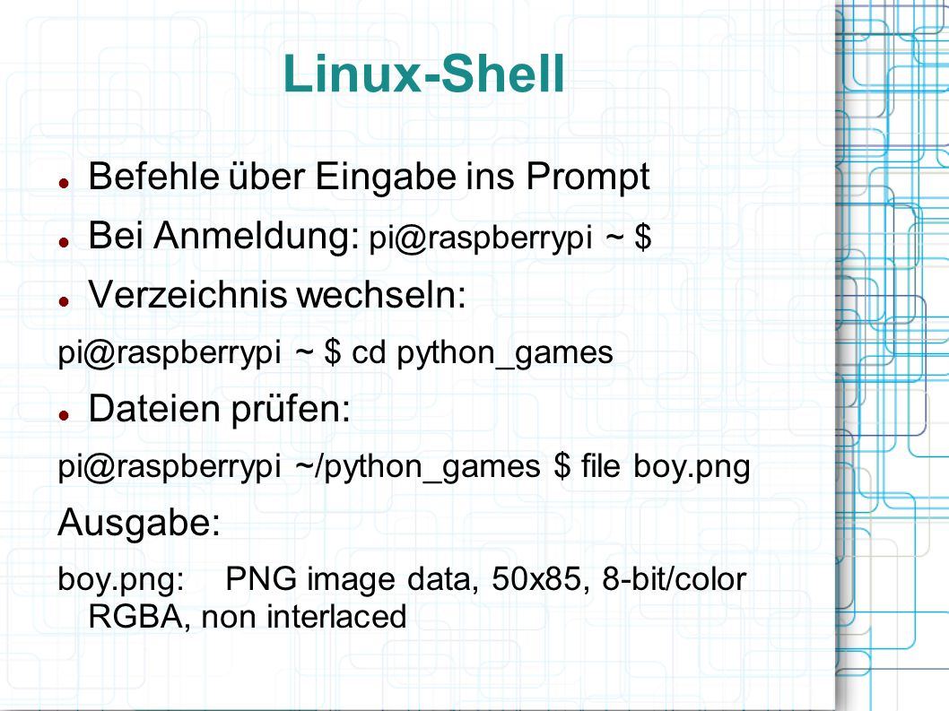 Linux-Shell Befehle über Eingabe ins Prompt