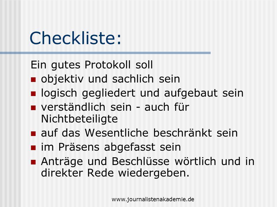 Checkliste: Ein gutes Protokoll soll objektiv und sachlich sein
