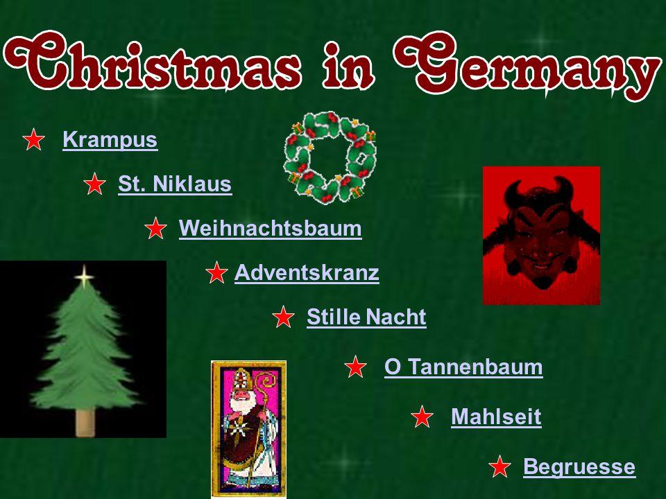 Krampus St. Niklaus Weihnachtsbaum Adventskranz Stille Nacht O Tannenbaum Mahlseit Begruesse