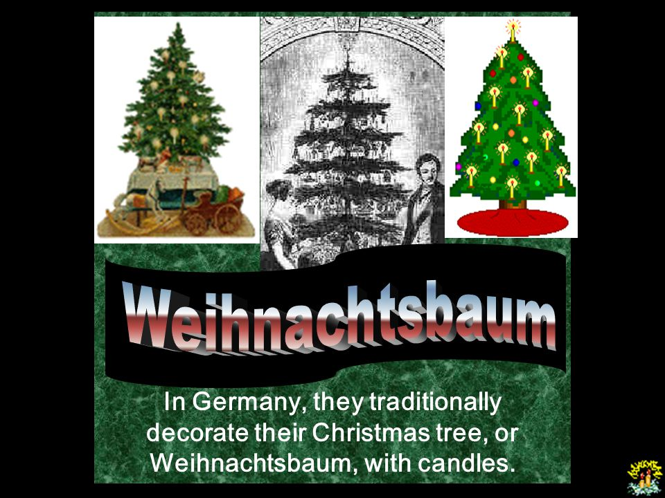 Weihnachtsbaum In Germany, they traditionally decorate their Christmas tree, or Weihnachtsbaum, with candles.