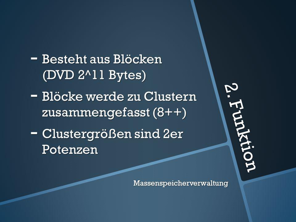 2. Funktion Besteht aus Blöcken (DVD 2^11 Bytes)