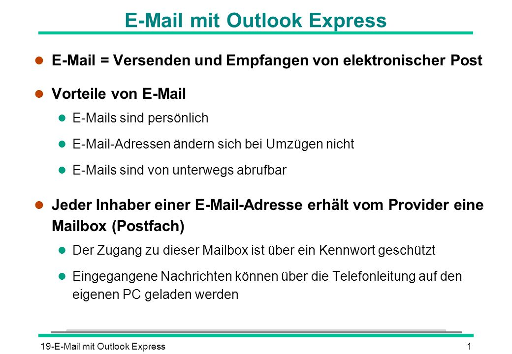 E-Mail mit Outlook Express