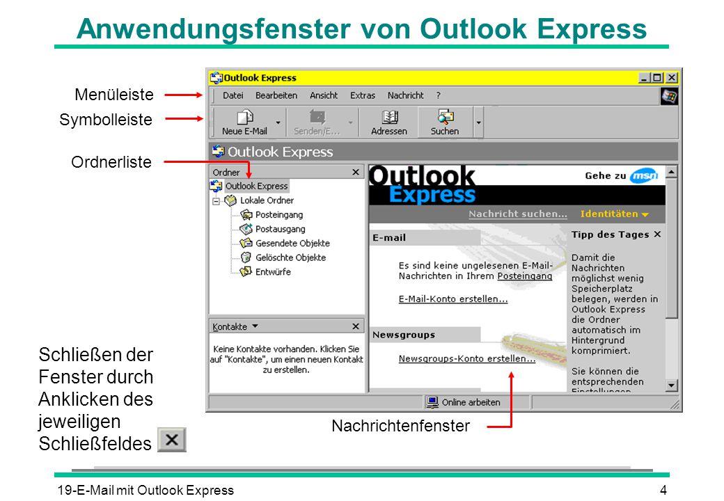Anwendungsfenster von Outlook Express