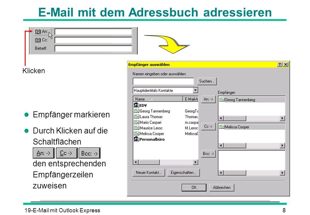 E-Mail mit dem Adressbuch adressieren