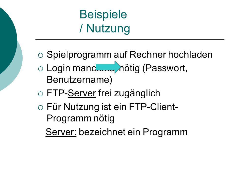 Beispiele / Nutzung Spielprogramm auf Rechner hochladen