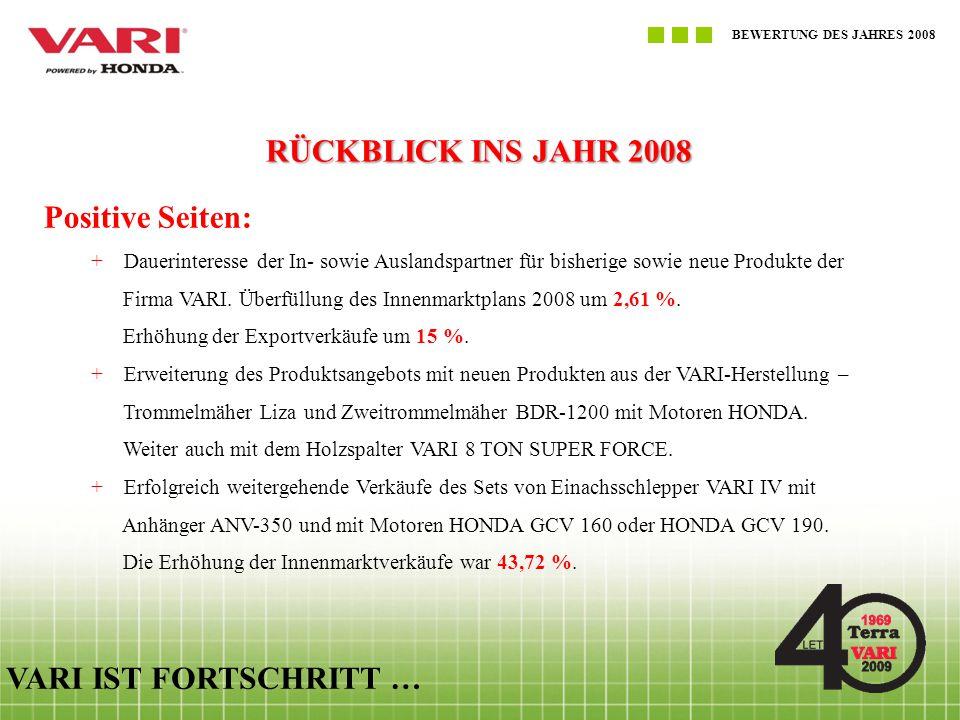 RÜCKBLICK INS JAHR 2008 Positive Seiten: VARI IST FORTSCHRITT …