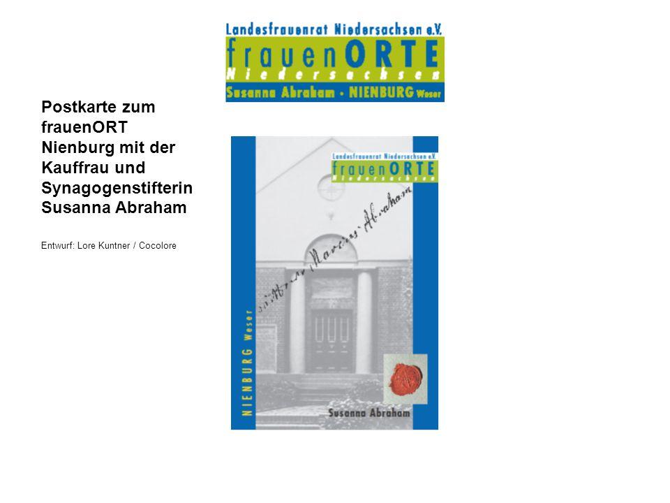Postkarte zum frauenORT Nienburg mit der Kauffrau und Synagogenstifterin Susanna Abraham