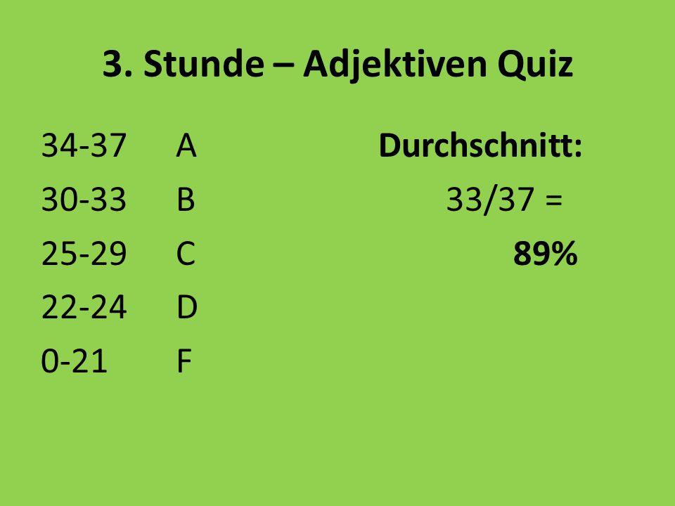 3. Stunde – Adjektiven Quiz