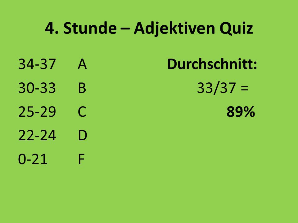 4. Stunde – Adjektiven Quiz