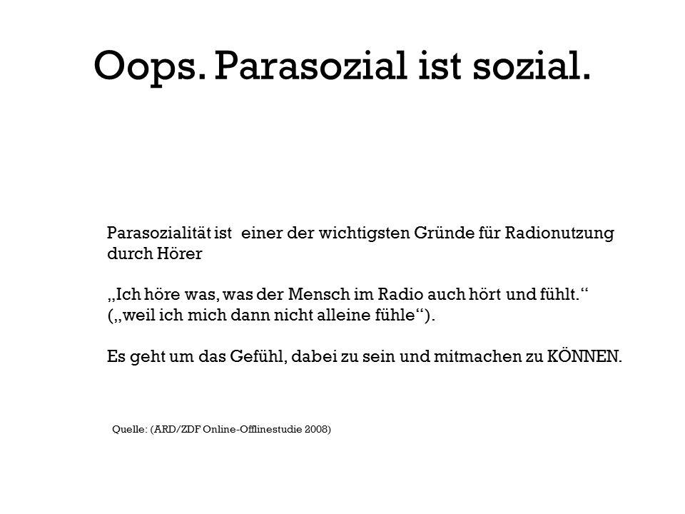 Oops. Parasozial ist sozial.