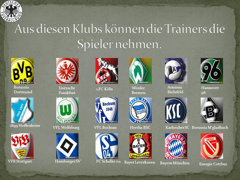 Aus diesen Klubs können die Trainers die Spieler nehmen.