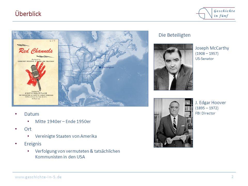 Überblick Die Beteiligten Datum Ort Ereignis Joseph McCarthy