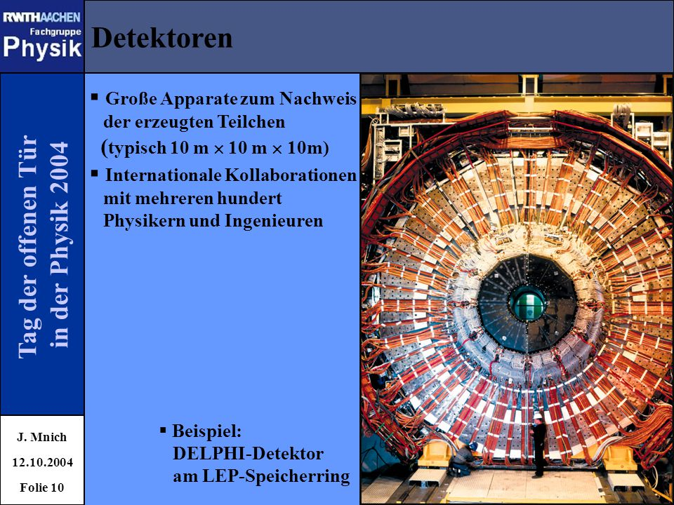 Detektoren Tag der offenen Tür in der Physik 2004
