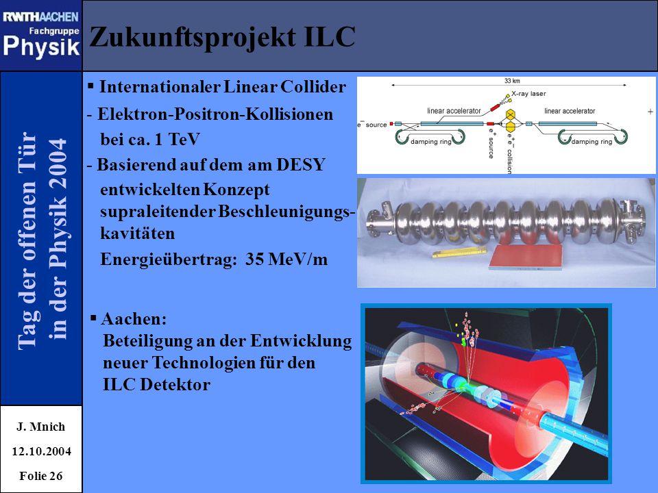 Zukunftsprojekt ILC Tag der offenen Tür in der Physik 2004