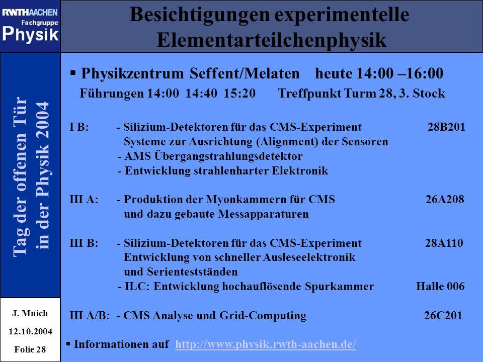 Besichtigungen experimentelle Elementarteilchenphysik