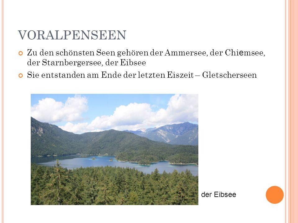 VORALPENSEEN Zu den schönsten Seen gehören der Ammersee, der Chiemsee, der Starnbergersee, der Eibsee.