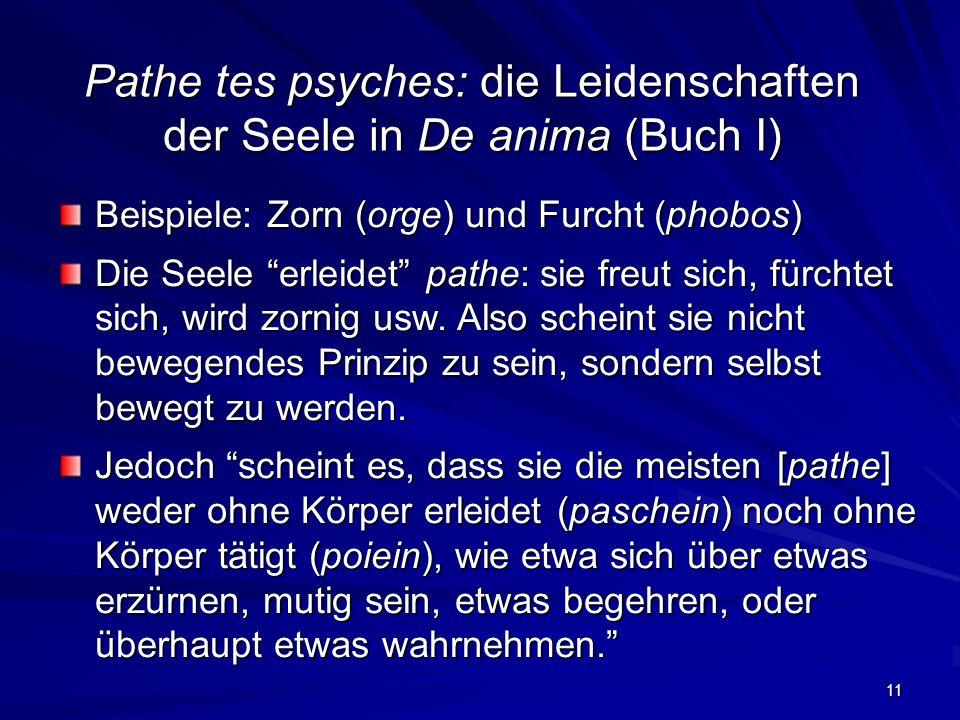 Pathe tes psyches: die Leidenschaften der Seele in De anima (Buch I)
