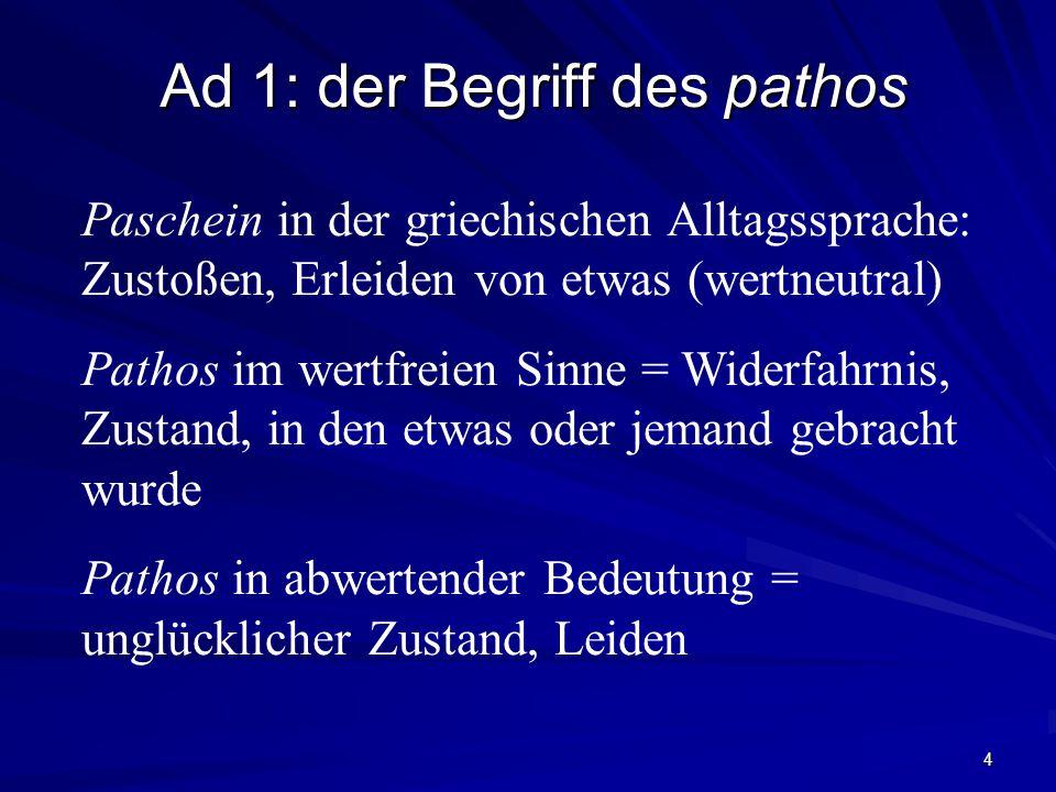 Ad 1: der Begriff des pathos