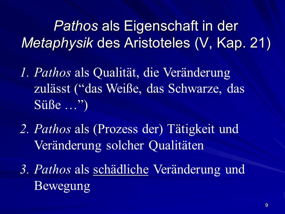 Pathos als Eigenschaft in der Metaphysik des Aristoteles (V, Kap. 21)