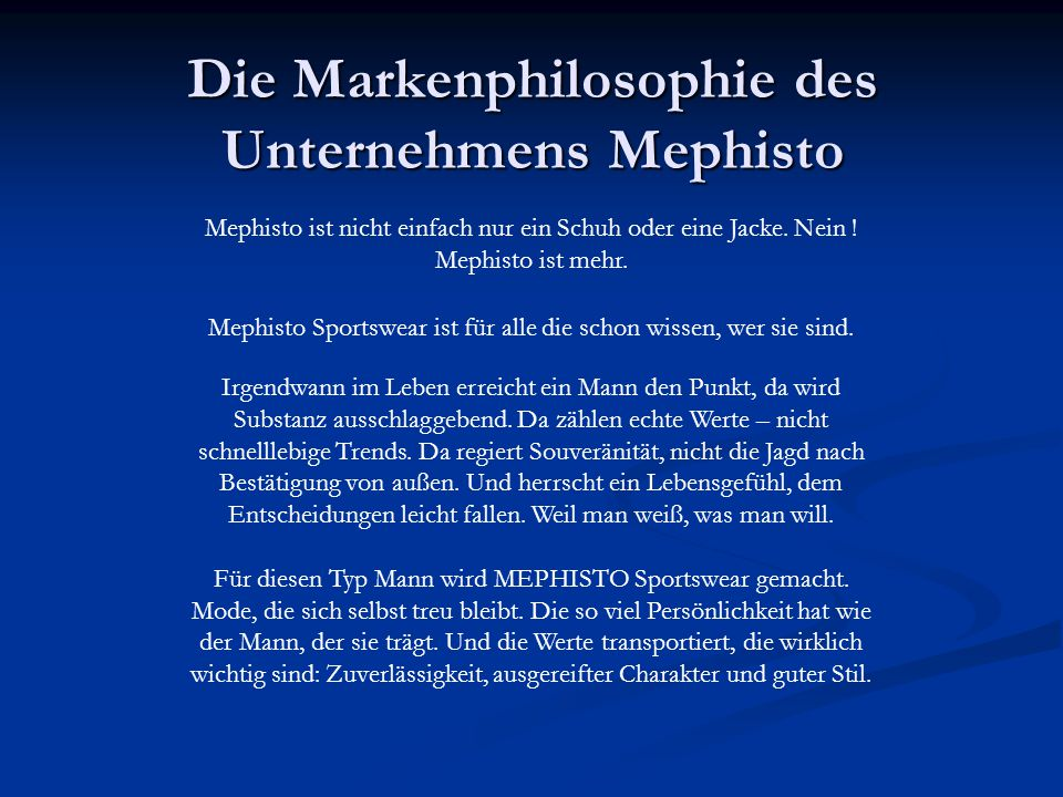 Die Markenphilosophie des Unternehmens Mephisto