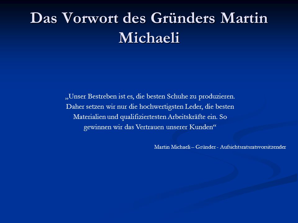 Das Vorwort des Gründers Martin Michaeli
