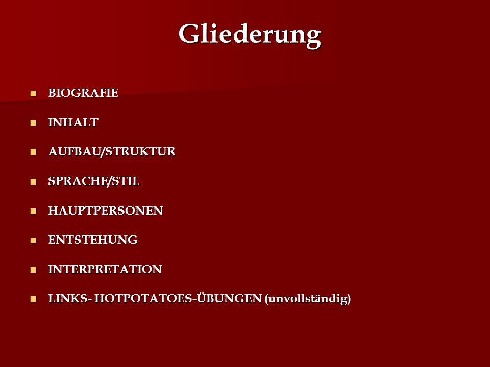 Gliederung BIOGRAFIE INHALT AUFBAU/STRUKTUR SPRACHE/STIL HAUPTPERSONEN