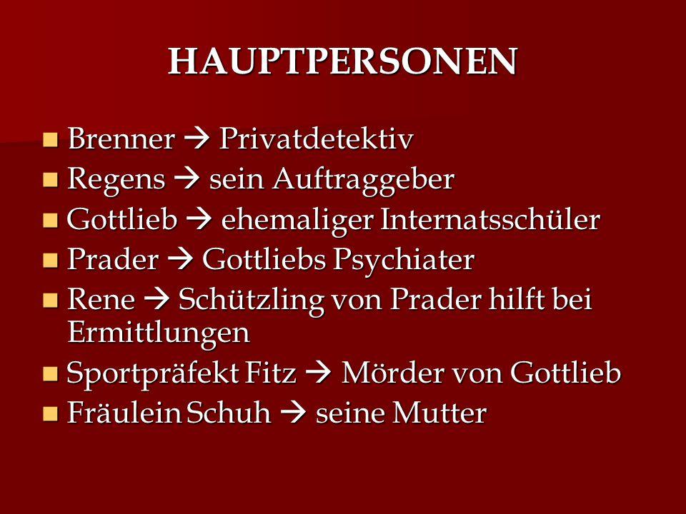HAUPTPERSONEN Brenner  Privatdetektiv Regens  sein Auftraggeber