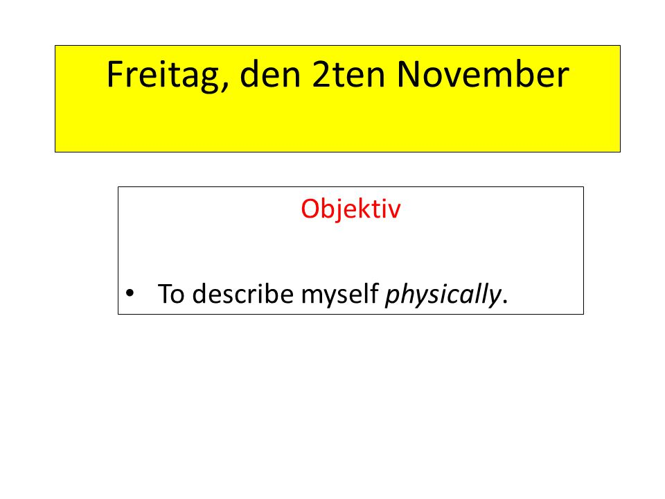 Freitag, den 2ten November