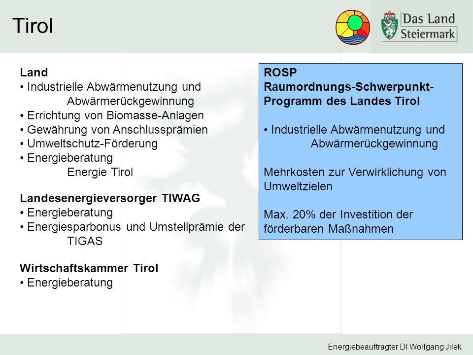Tirol Land Industrielle Abwärmenutzung und Abwärmerückgewinnung