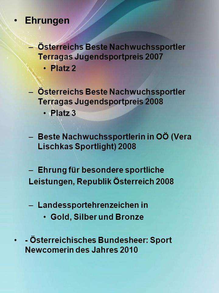 Ehrungen Österreichs Beste Nachwuchssportler Terragas Jugendsportpreis 2007. Platz 2.