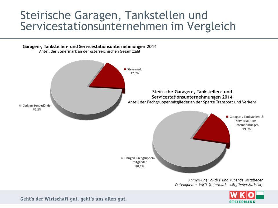 Steirische Garagen, Tankstellen und Servicestationsunternehmen im Vergleich