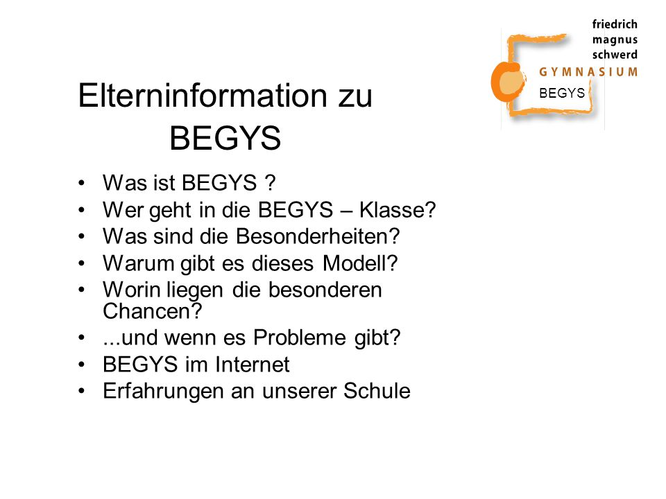 Elterninformation zu BEGYS