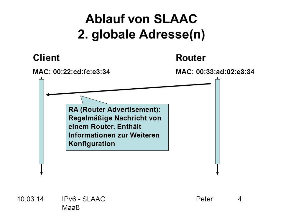 Ablauf von SLAAC 2. globale Adresse(n)