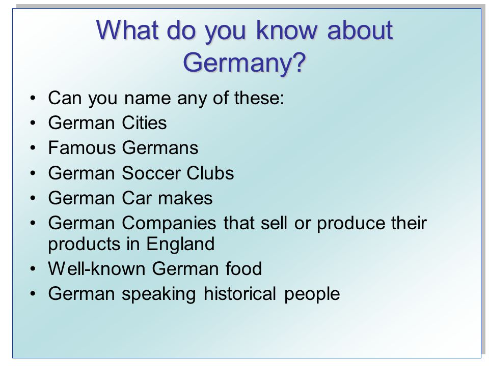 What do you know about Germany