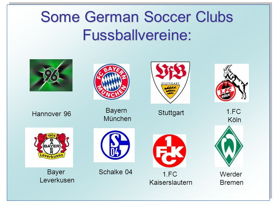 Some German Soccer Clubs Fussballvereine: