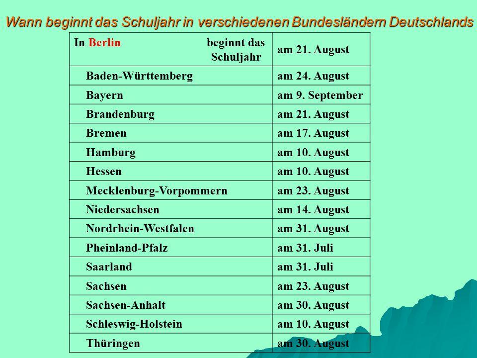 Wann beginnt das Schuljahr in verschiedenen Bundesländern Deutschlands