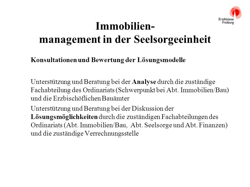 Immobilien- management in der Seelsorgeeinheit