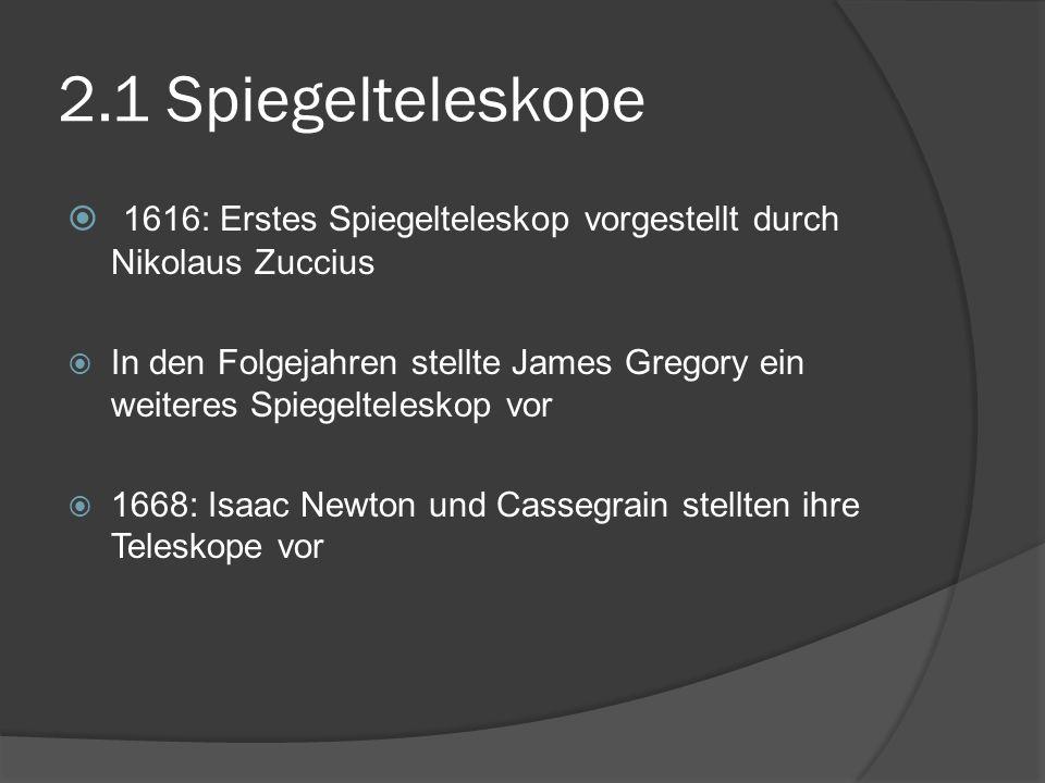 2.1 Spiegelteleskope 1616: Erstes Spiegelteleskop vorgestellt durch Nikolaus Zuccius.