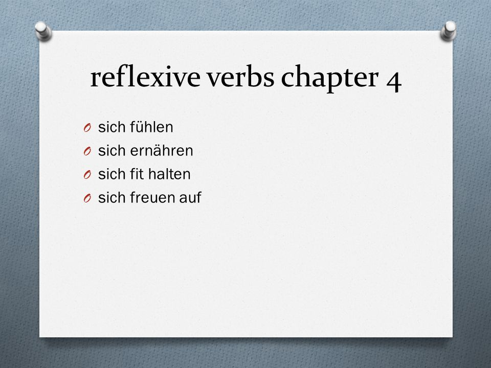 reflexive verbs chapter 4