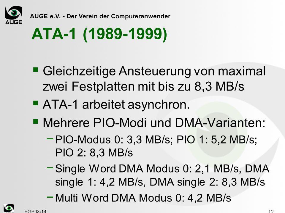 ATA-1 (1989-1999) Gleichzeitige Ansteuerung von maximal zwei Festplatten mit bis zu 8,3 MB/s. ATA-1 arbeitet asynchron.