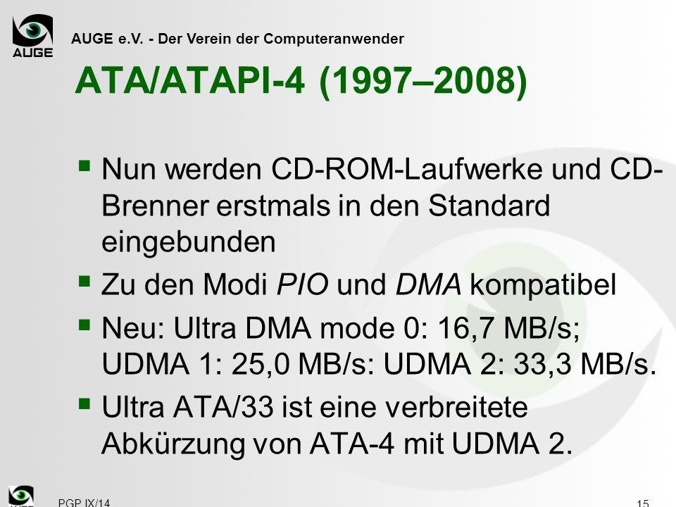 ATA/ATAPI-4 (1997–2008) Nun werden CD-ROM-Laufwerke und CD-Brenner erstmals in den Standard eingebunden.