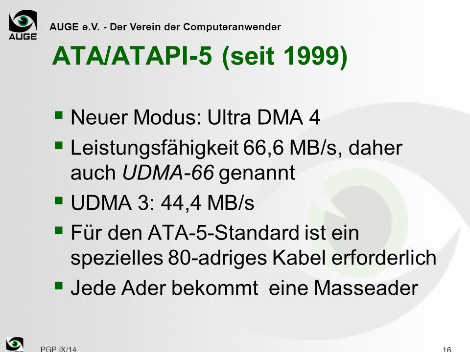 ATA/ATAPI-5 (seit 1999) Neuer Modus: Ultra DMA 4