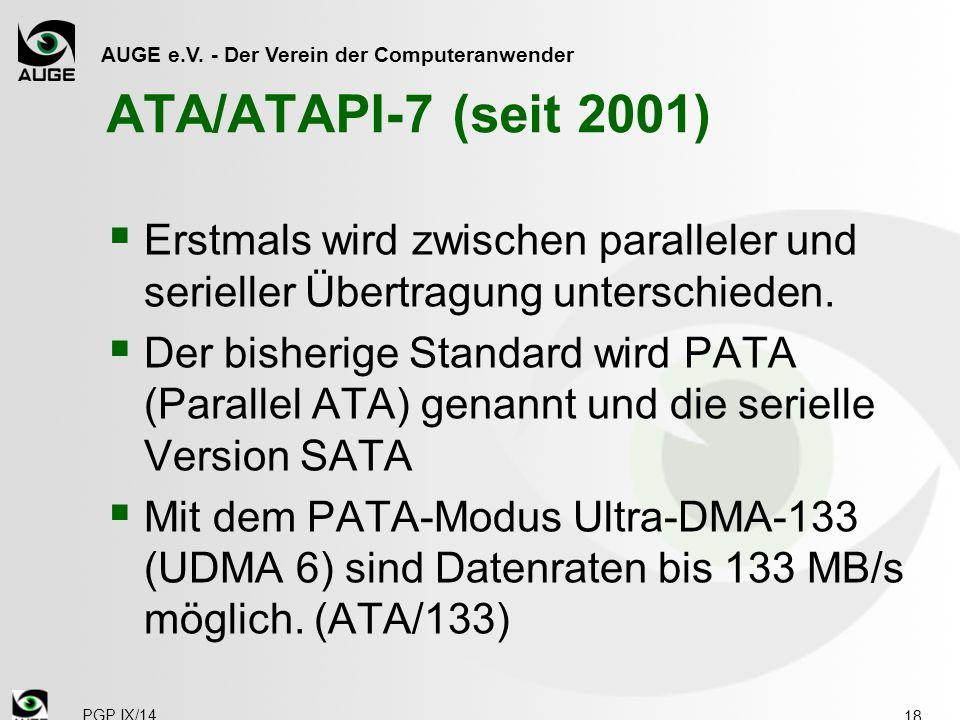ATA/ATAPI-7 (seit 2001) Erstmals wird zwischen paralleler und serieller Übertragung unterschieden.