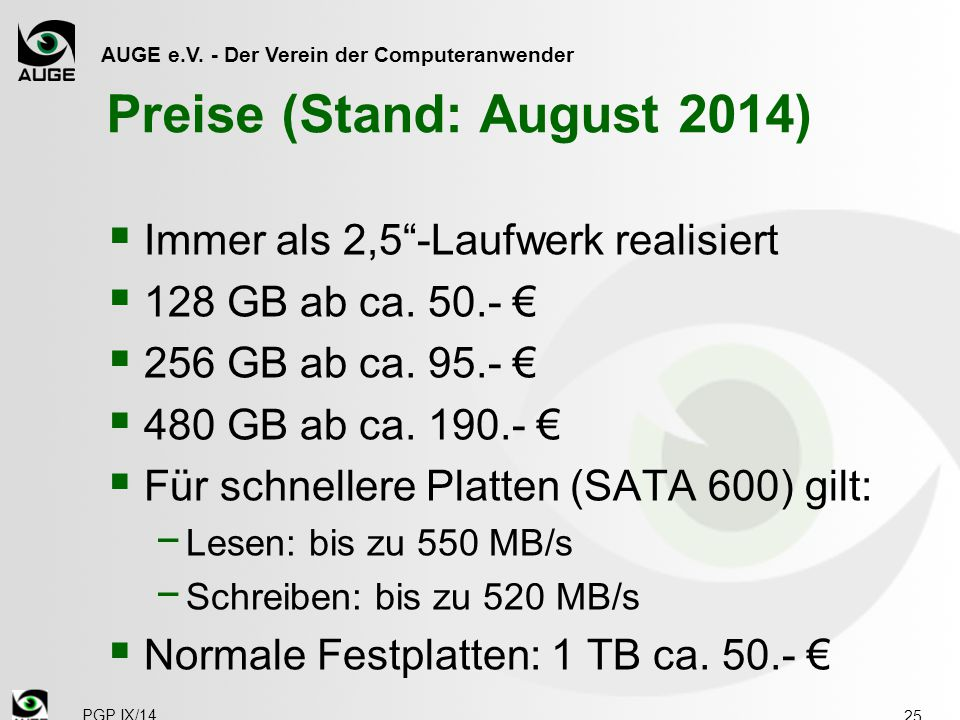 Preise (Stand: August 2014)