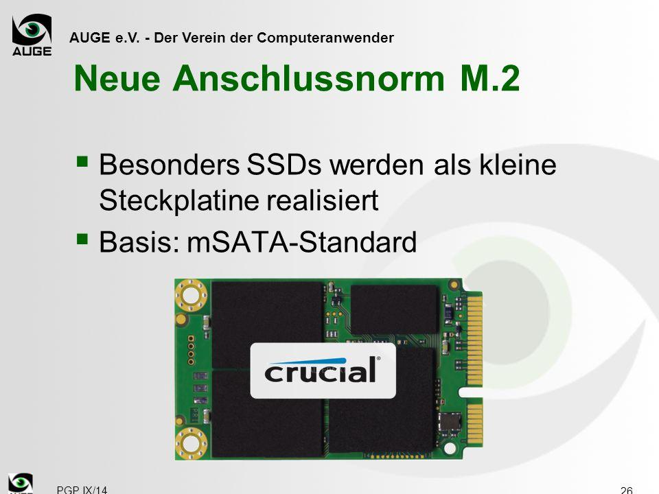Neue Anschlussnorm M.2 Besonders SSDs werden als kleine Steckplatine realisiert. Basis: mSATA-Standard.